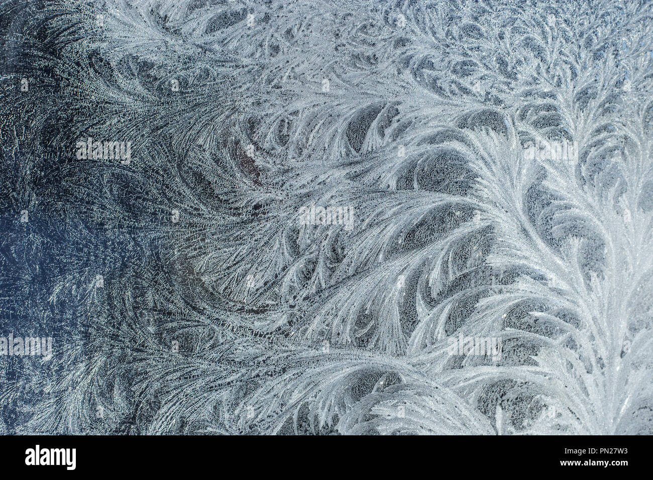 Frosty glass ice background, natural beautiful snowflakes. Frost ice pattern. Stock Photo