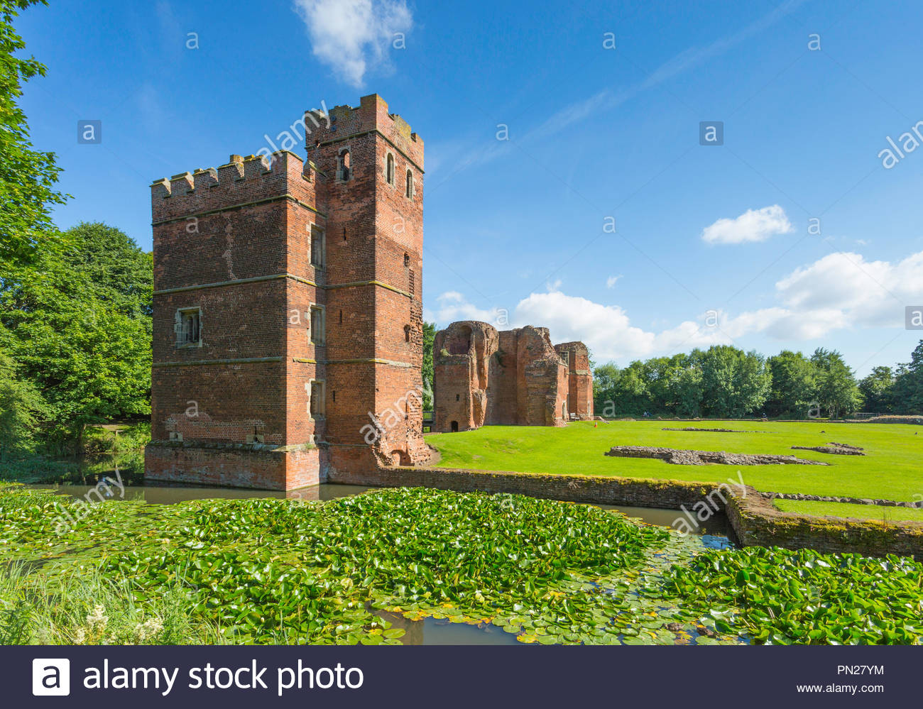Kirby Muxloe Castle, a picturesque fortified mansion, was built for Lord Hastings who was dramatically seized and executed by Richard III in 1483. - Stock Image