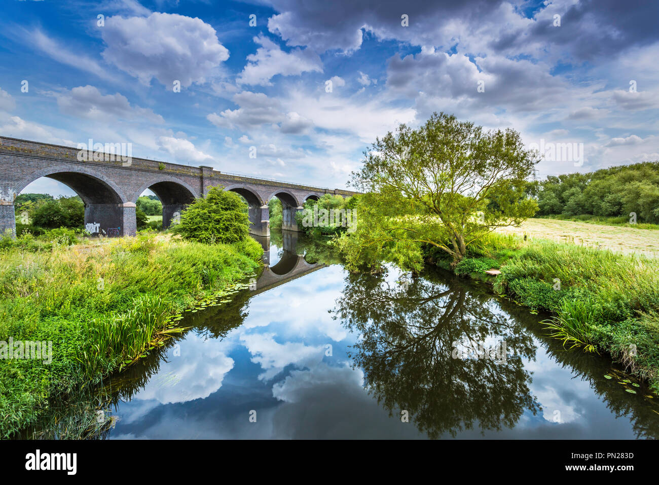 The river Soar at Stamford on Soar. - Stock Image