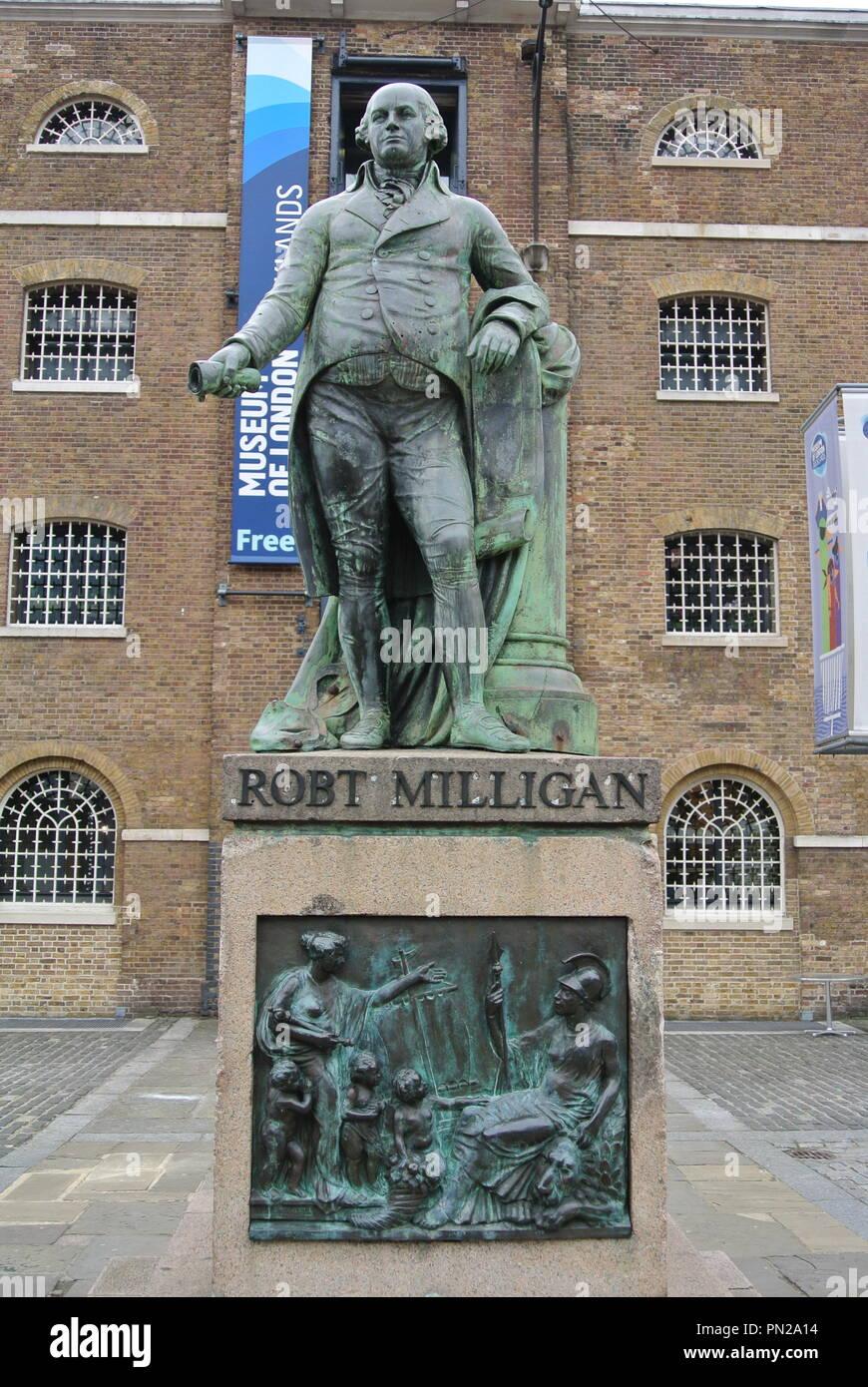 A Bronze Statue of Robert Milligan, West India Docks, London, England. UK. Stock Photo