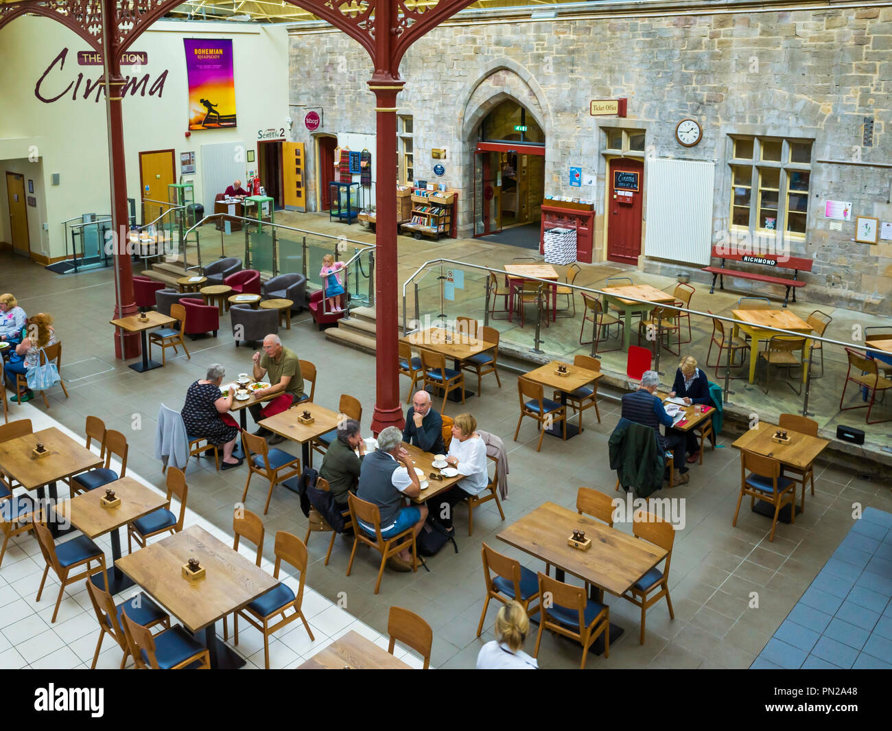 The Station a former railway train station at Richmond North Yorkshire now a busy arts centre gallery cinema and café Stock Photo