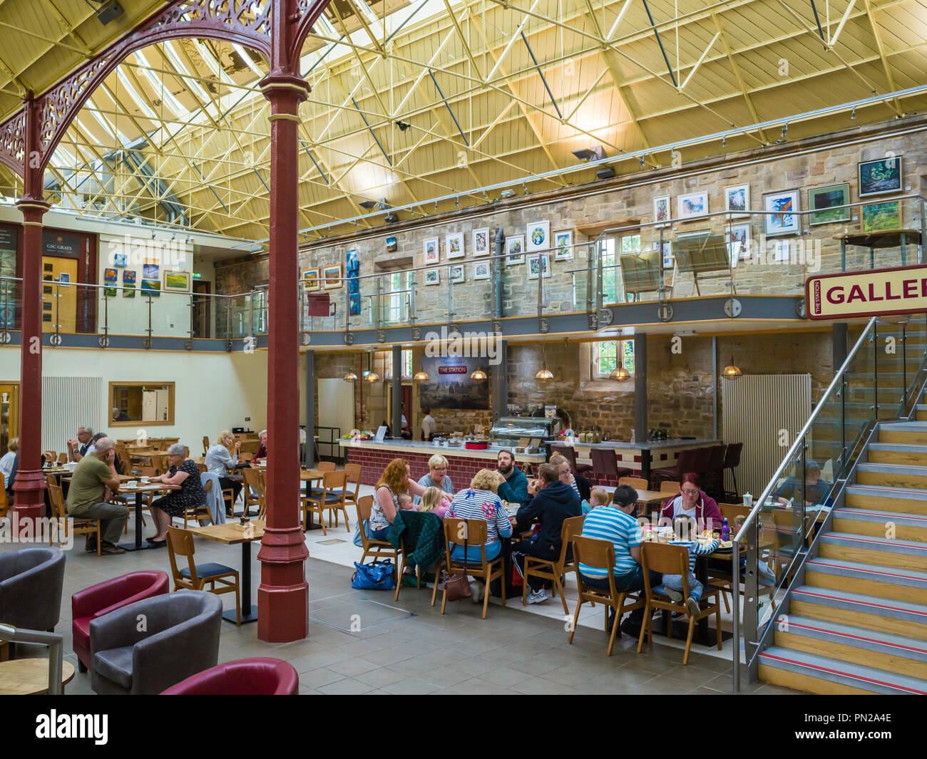The Station a former railway train station at Richmond North Yorkshire now a busy arts centre gallery cinema and café - Stock Image