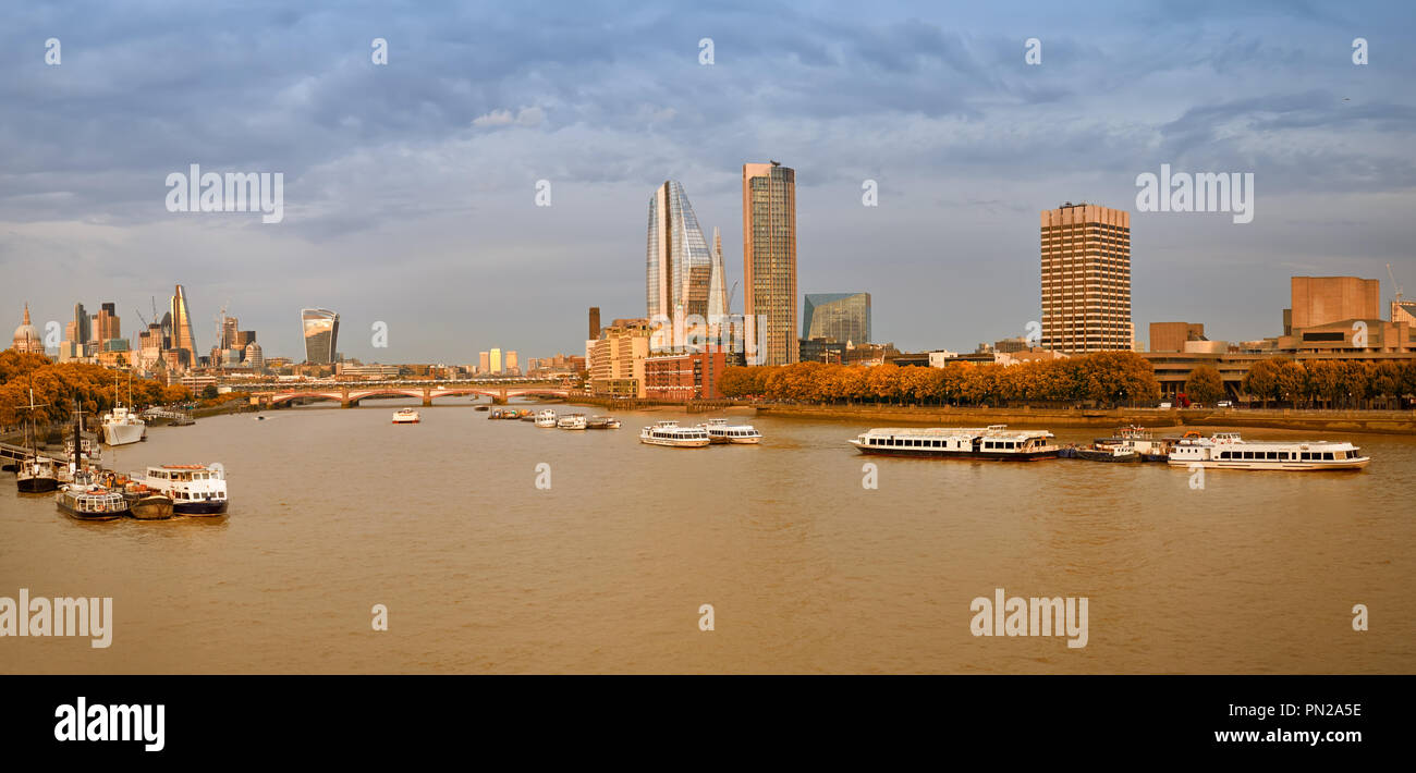 London, panoramic view over river Thames on St. Paul's cathedral and Blackfriars bridge in Autumn - Stock Image