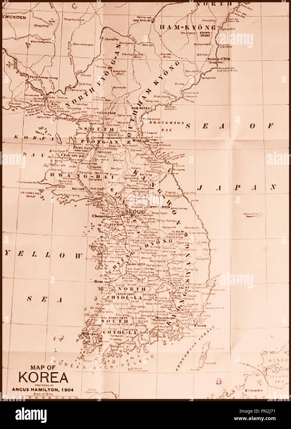 A Map of Korea 1904 - Stock Image