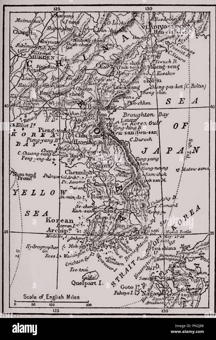 A 1910 map of Korea, the Sea of Japan, Yellow Sea,strait of Korea and Korea Bay - Stock Image