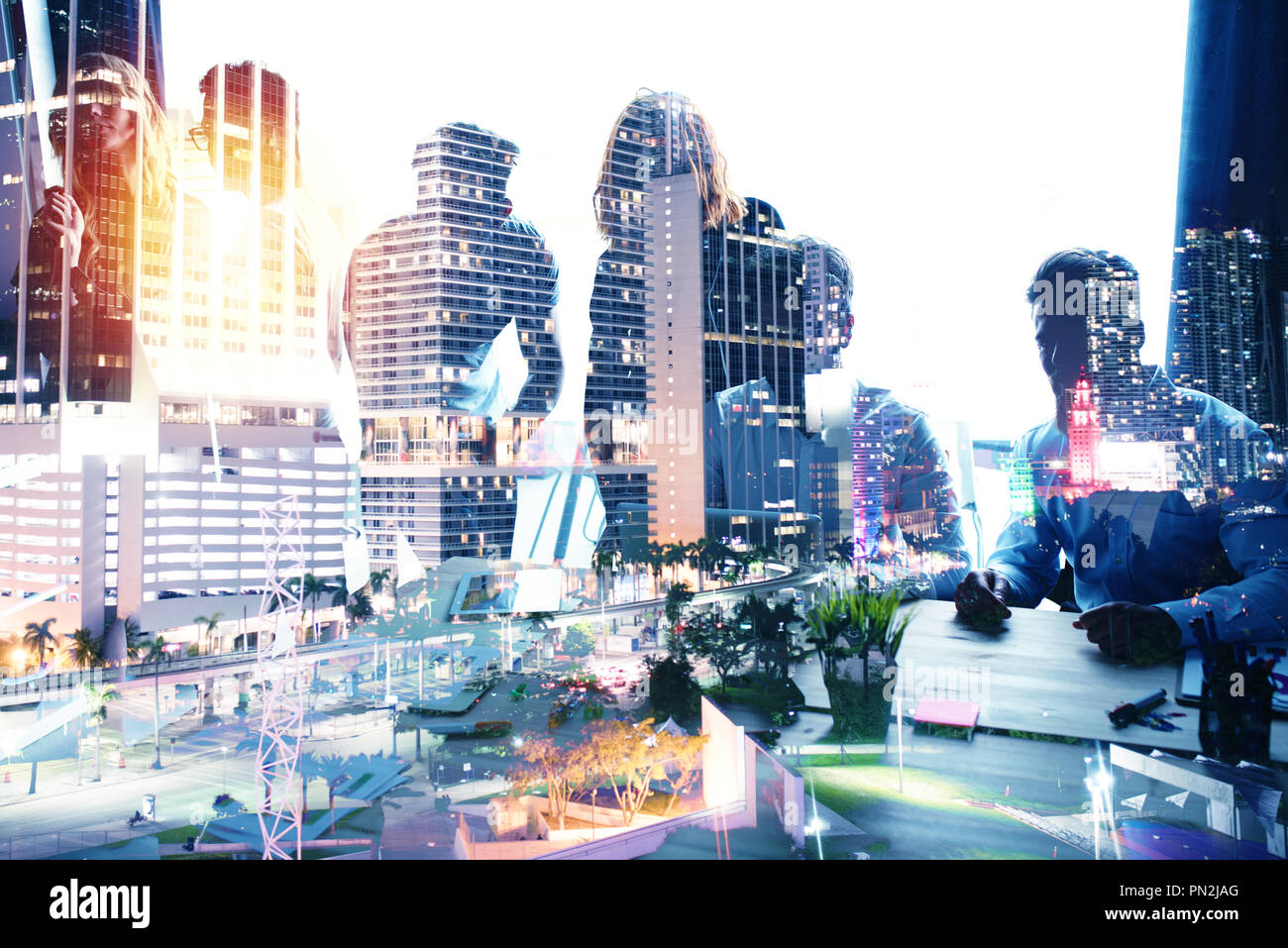 Group of business partner looking for the future. Concept of corporate and startup. double exposure - Stock Image