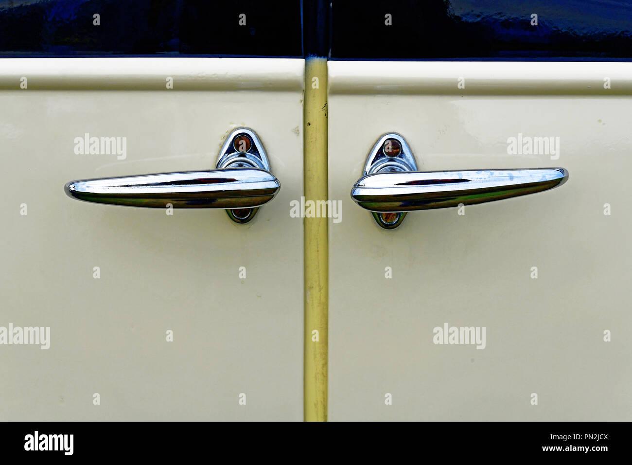Whitley Bay Motor Show vintage door handles - Stock Image