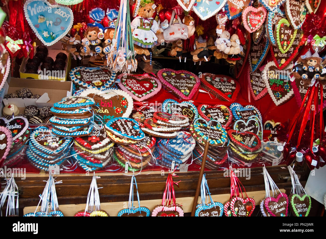 traditional gingerbread hearts at Oktoberfest in Munich, Germany - Stock Image