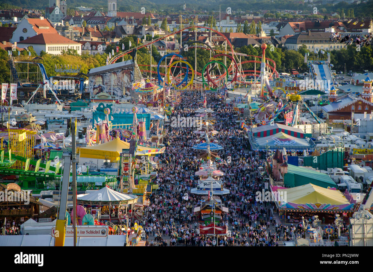 Aerial view of Oktoberfest in Munich, Germany. - Stock Image