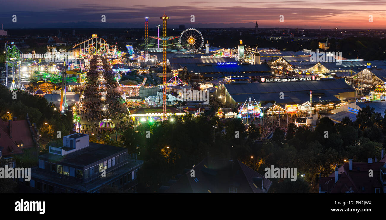 aerial view of Oktoberfest 2011 from above at Sunset - Stock Image
