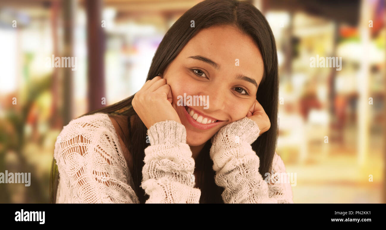 Cute Mexican Girl Smiling At Camera Stock Image