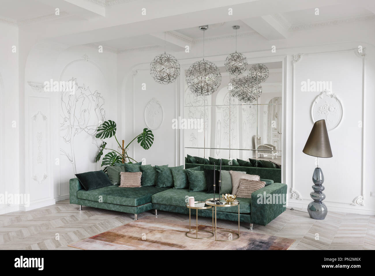 Morning in luxurious light interior in hotel bright and clean interior design of a luxury living room with parquet wood floors fireplace