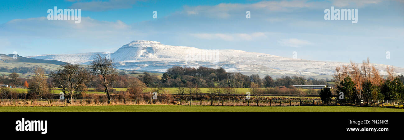 Ingleborough in Winter - Stock Image