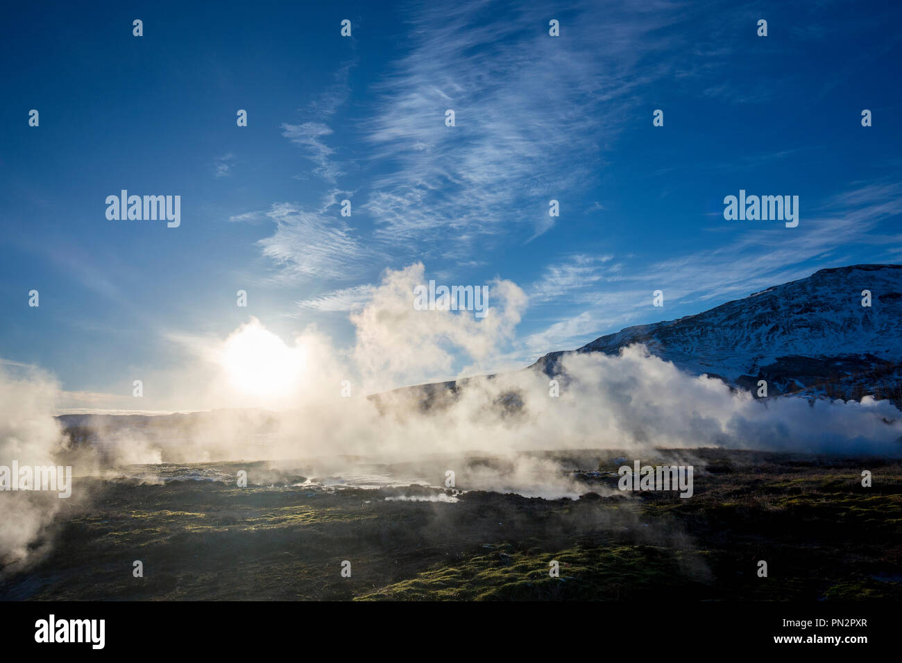 Geysir Geothermal Area - steam rising from a field of hot pools and water spouts at one of Iceland's most famous geysers Stock Photo