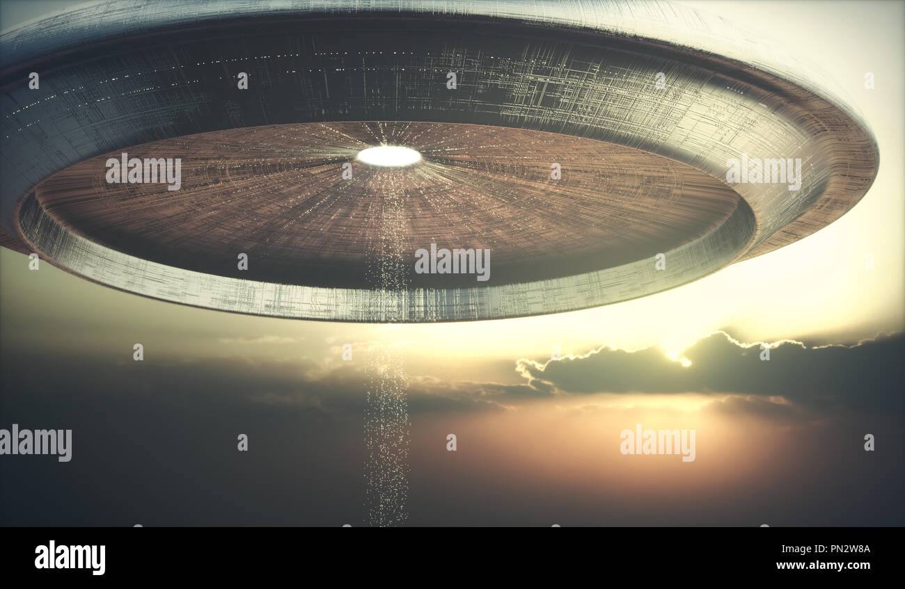 3D illustration of UFO. Alien spacecraft teleporting aliens to the ground. - Stock Image