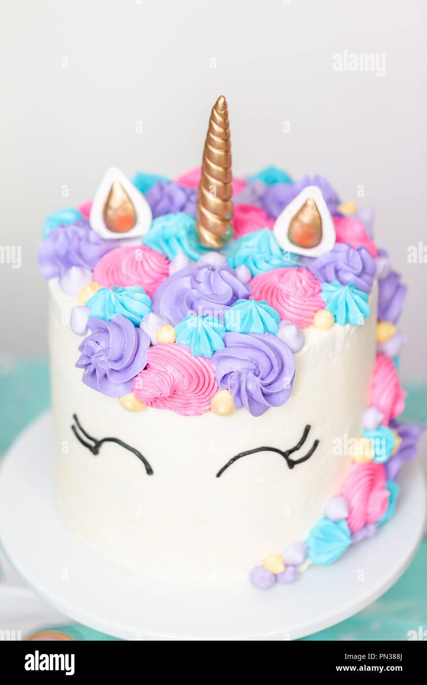 Pleasant Close Up Of Unicorn Cake At Little Girl Birthday Party Stock Photo Personalised Birthday Cards Veneteletsinfo