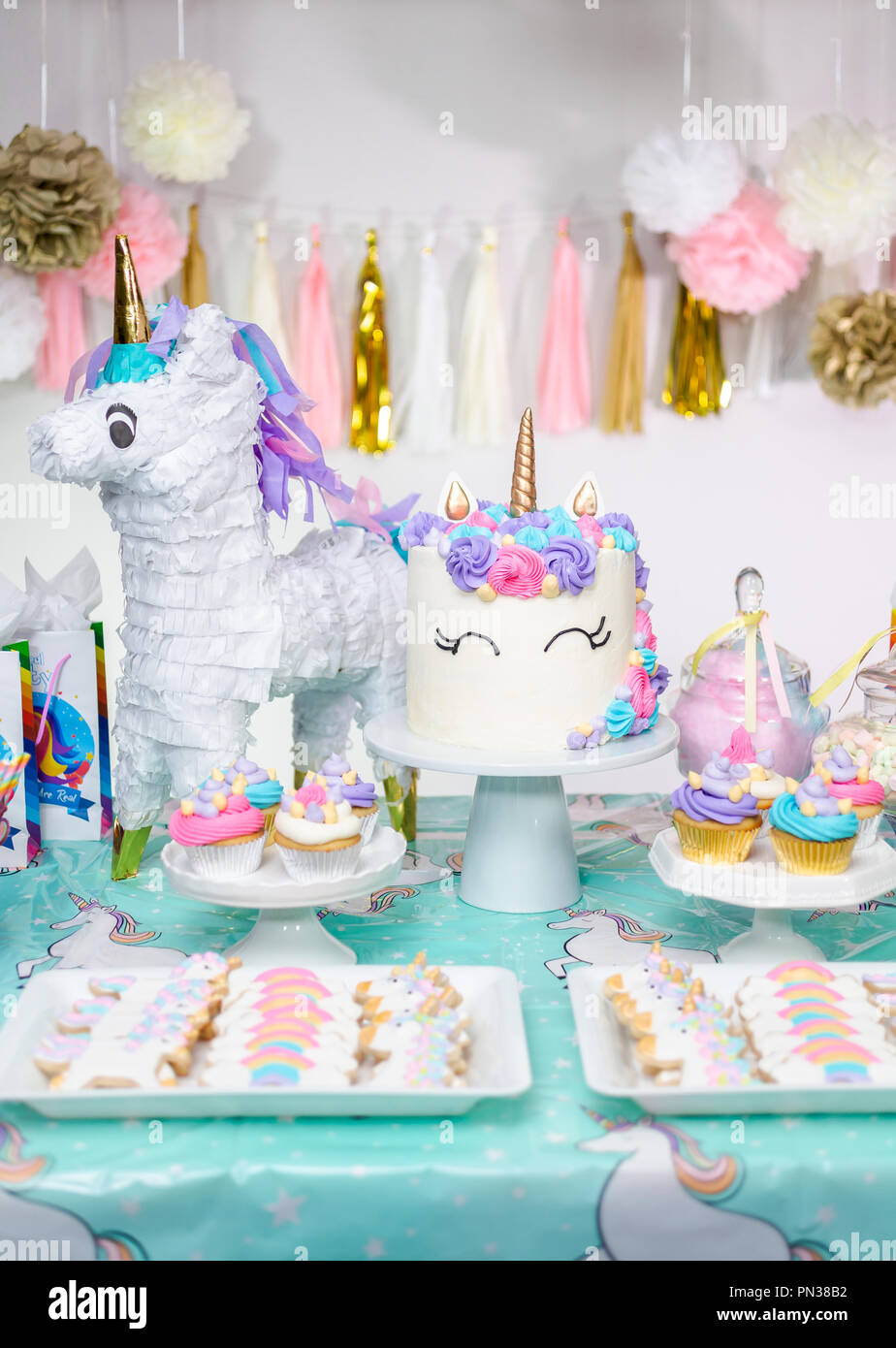 Outstanding Little Girl Birthday Party Table With Unicorn Cake Cupcakes And Funny Birthday Cards Online Overcheapnameinfo