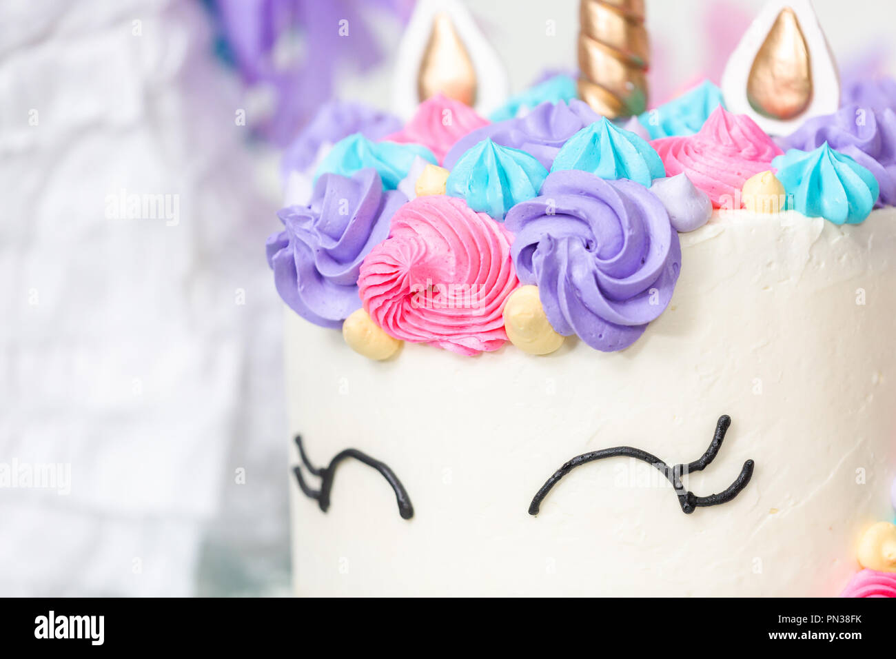 Miraculous Close Up Of Unicorn Cake At Little Girl Birthday Party Stock Photo Funny Birthday Cards Online Elaedamsfinfo