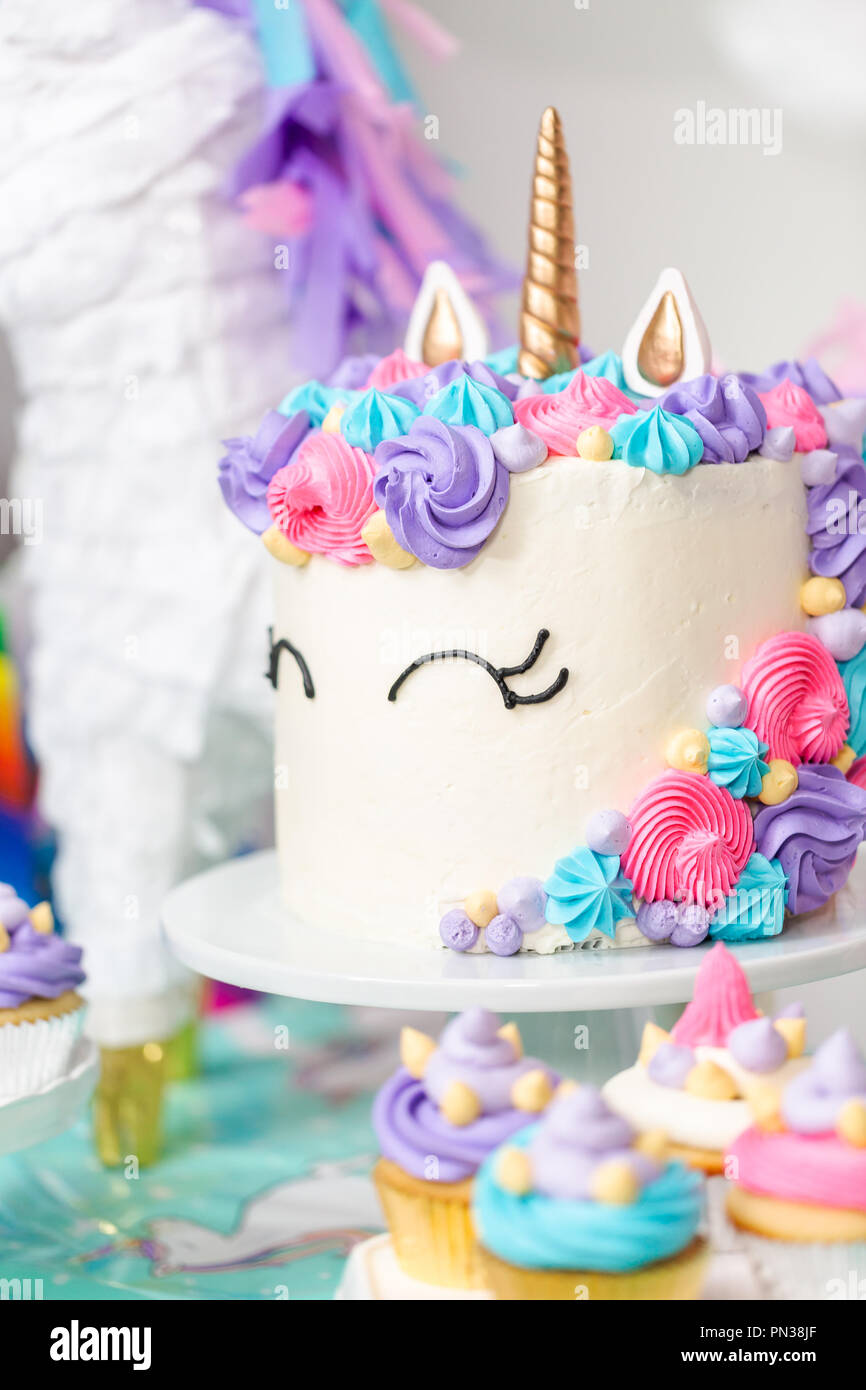 Surprising Little Girl Birthday Party Table With Unicorn Cake Cupcakes And Funny Birthday Cards Online Alyptdamsfinfo