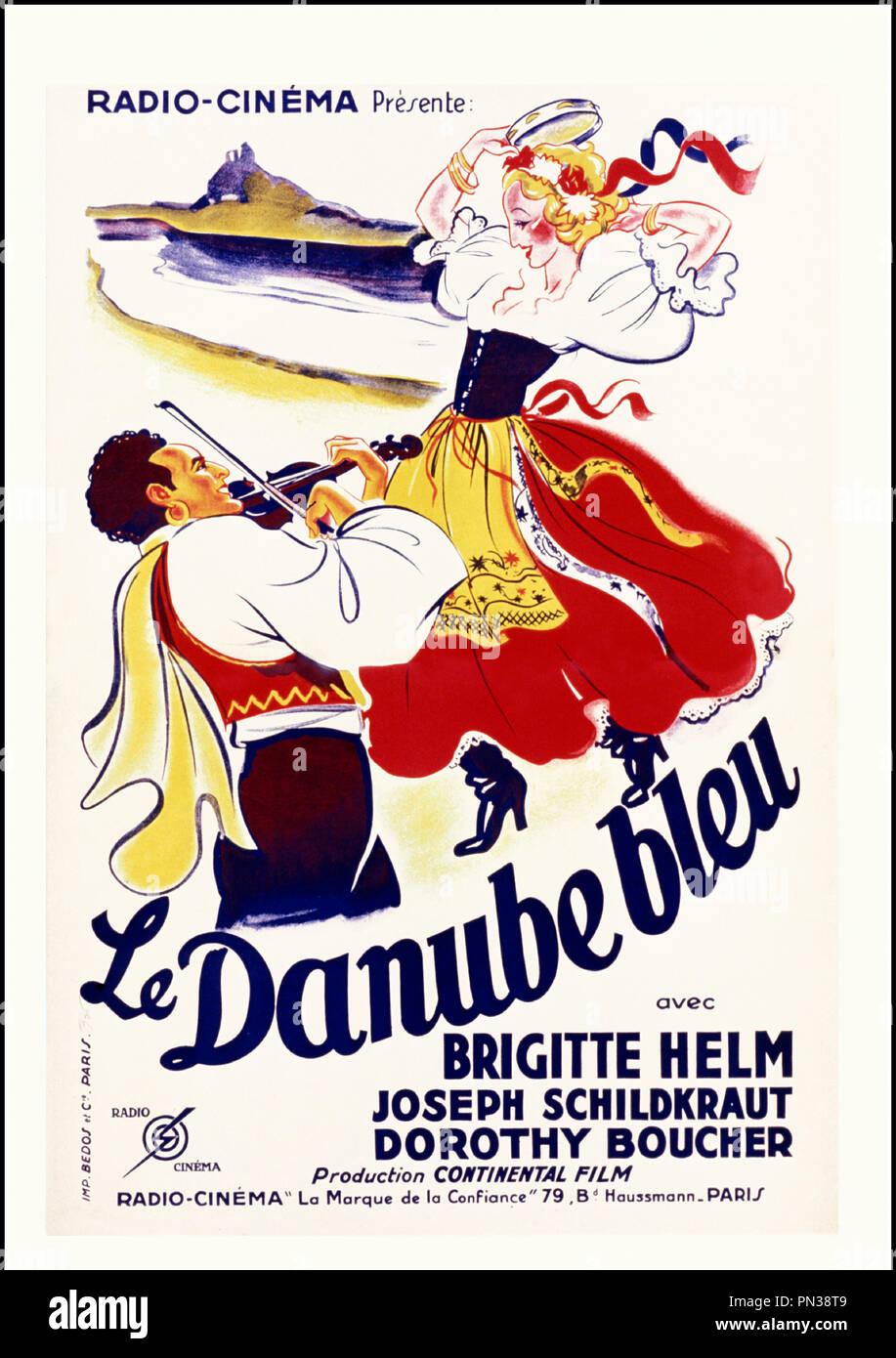 Prod DB © Herbert Wilcox Productions - British & Dominions Film Corporation / DR LE DANUBE BLEU (THE BLUE DANUBE) de Herbert Wilcox 1932 GB. affiche française avec Brigitte Helm et Joseph Schildkraut - Stock Image