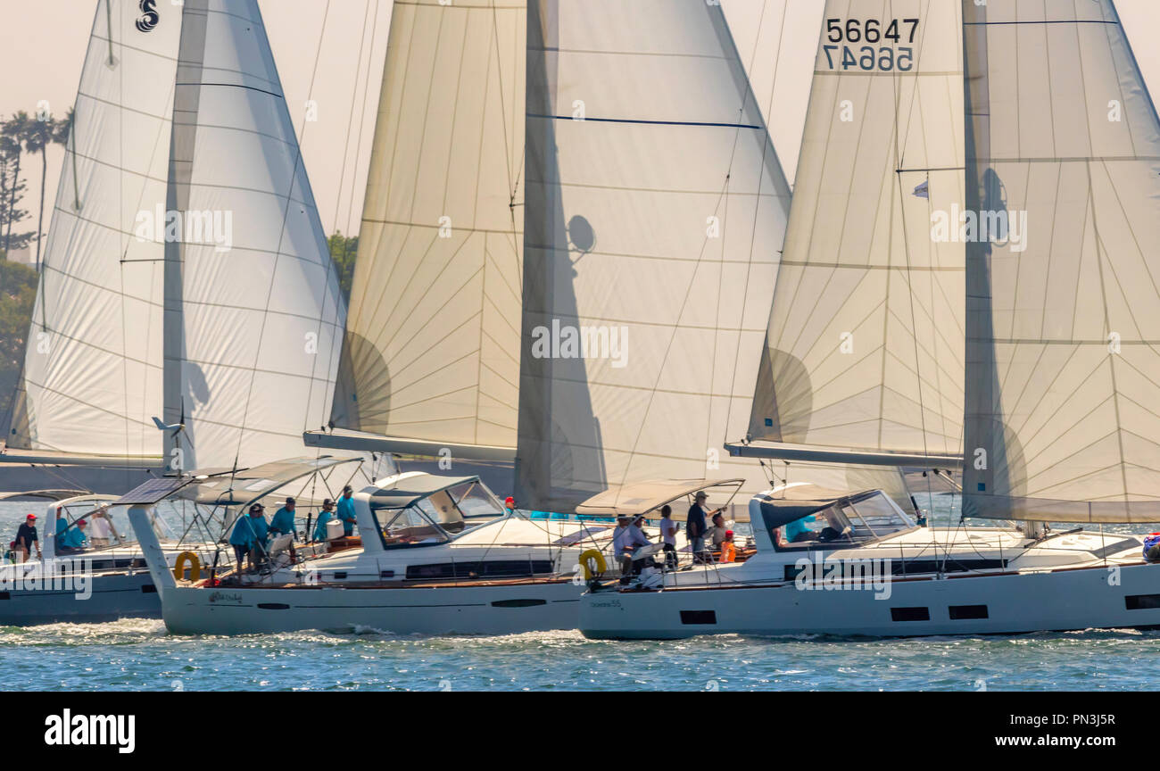 Three Beneteau sailboats moving in a nice formation - Stock Image