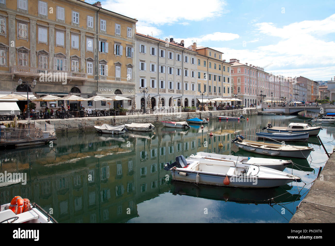 Canal Grande, Trieste, Italy.  Built while Trieste was under the protection and control of the Hapsburgs (Austria), the Grand Canal today is lined wit - Stock Image