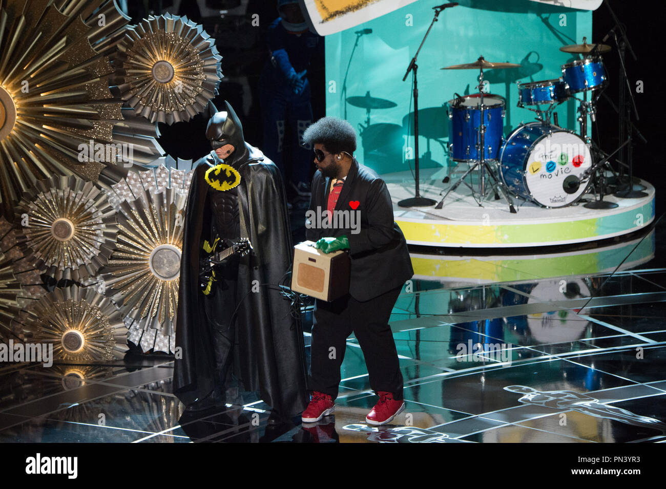 """The live performance of the Oscar® nominated Original Song,  """"Everything is Awesome"""" from the film 'The Lego Movie' during the live ABC Telecast of The 87th Oscars® at the Dolby® Theatre in Hollywood, CA on Sunday, February 22, 2015.  File Reference # 32567_119THA  For Editorial Use Only -  All Rights Reserved - Stock Image"""