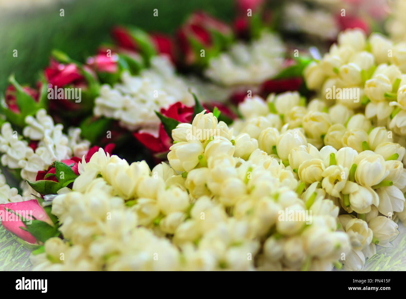 Beautiful Garlands Made Of Jasminesroses And Crown Flowers For Sale