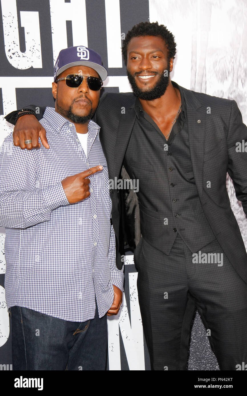 mc ren and aldis hodge at the universal pictures and legendary