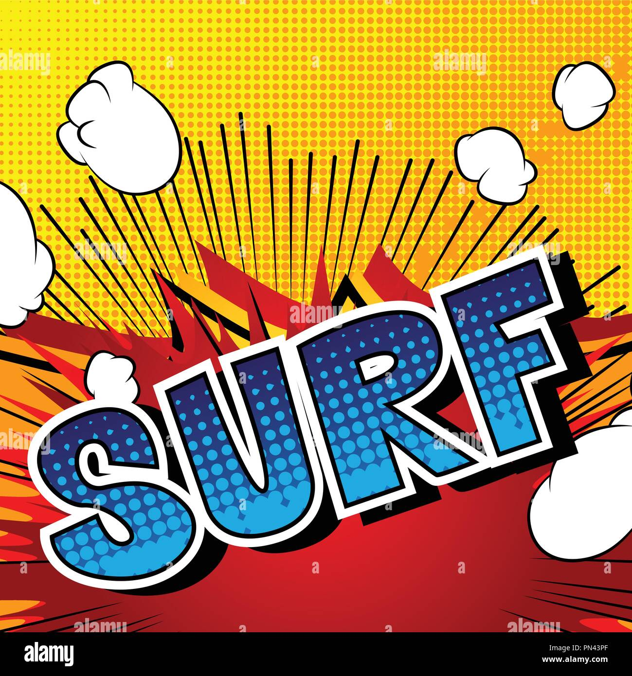 1f3f0ad21a Surf - Comic book style word on abstract background. - Stock Vector
