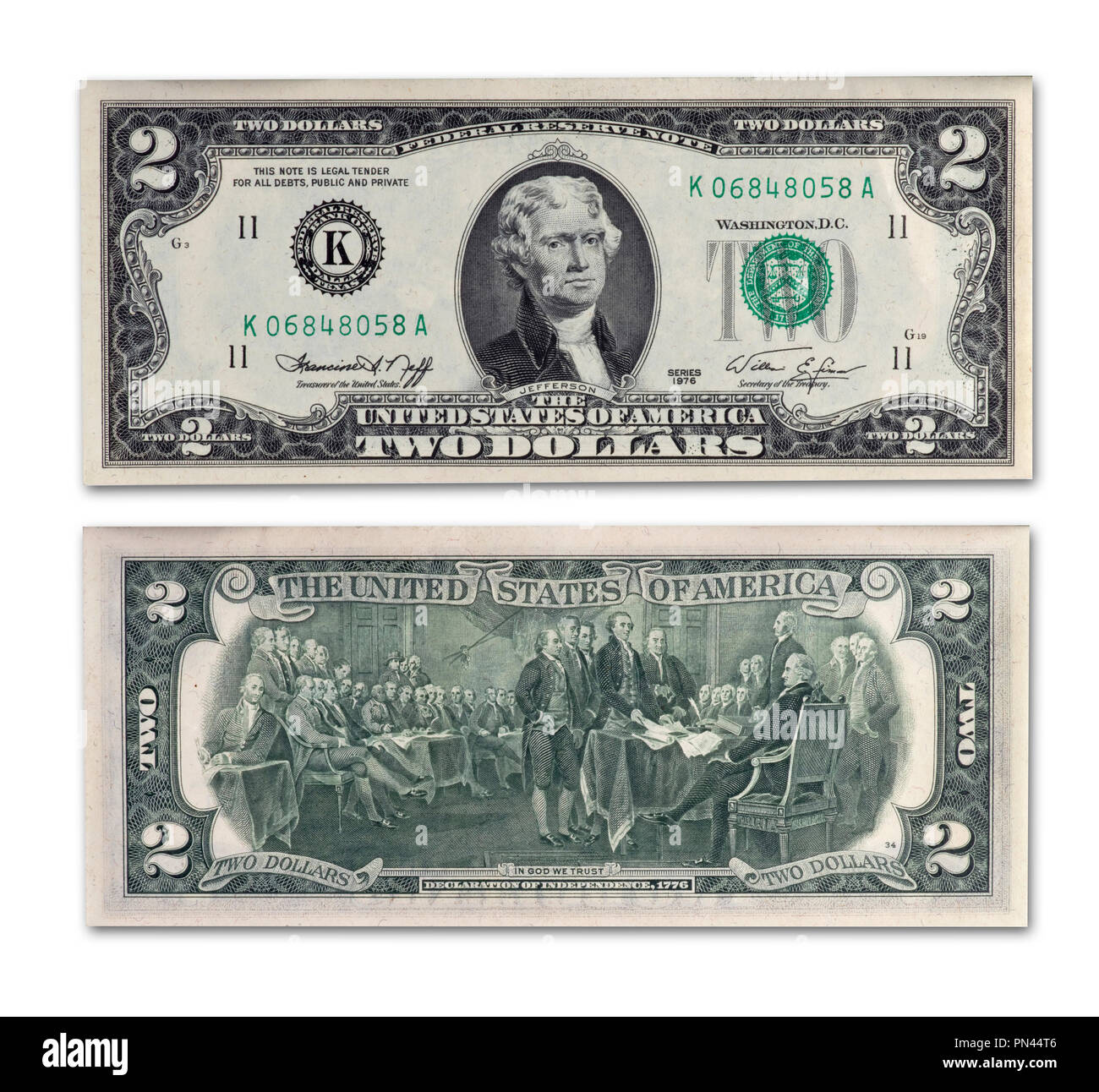 1976 Two Dollar Bill Some Say Two Dollar Bills Are Unlucky Front And Back