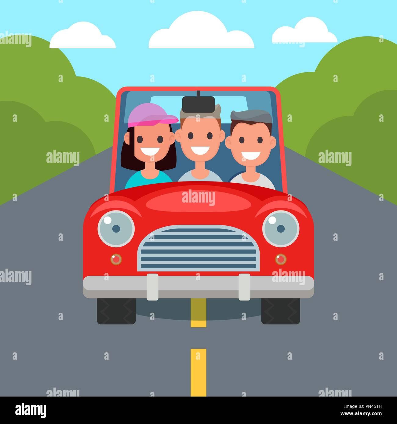 Flat Design Car Driving Characters Car Sharing Vector Stock Vector