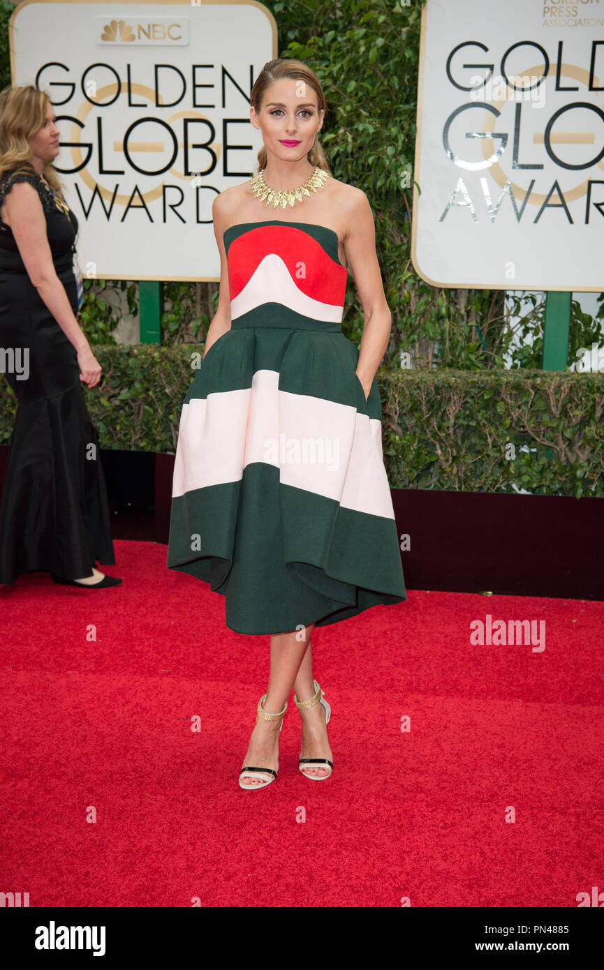 5261ccb614 Actress Olivia Palermo attends the 73rd Annual Golden Globes Awards at the  Beverly Hilton in Beverly