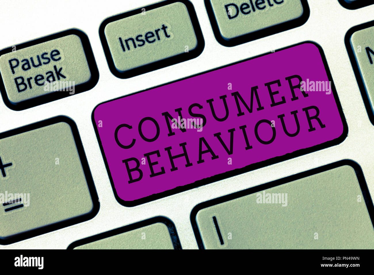 Word writing text Consumer Behaviour. Business concept for Decisions that people make to buy or not to buy a product. Stock Photo