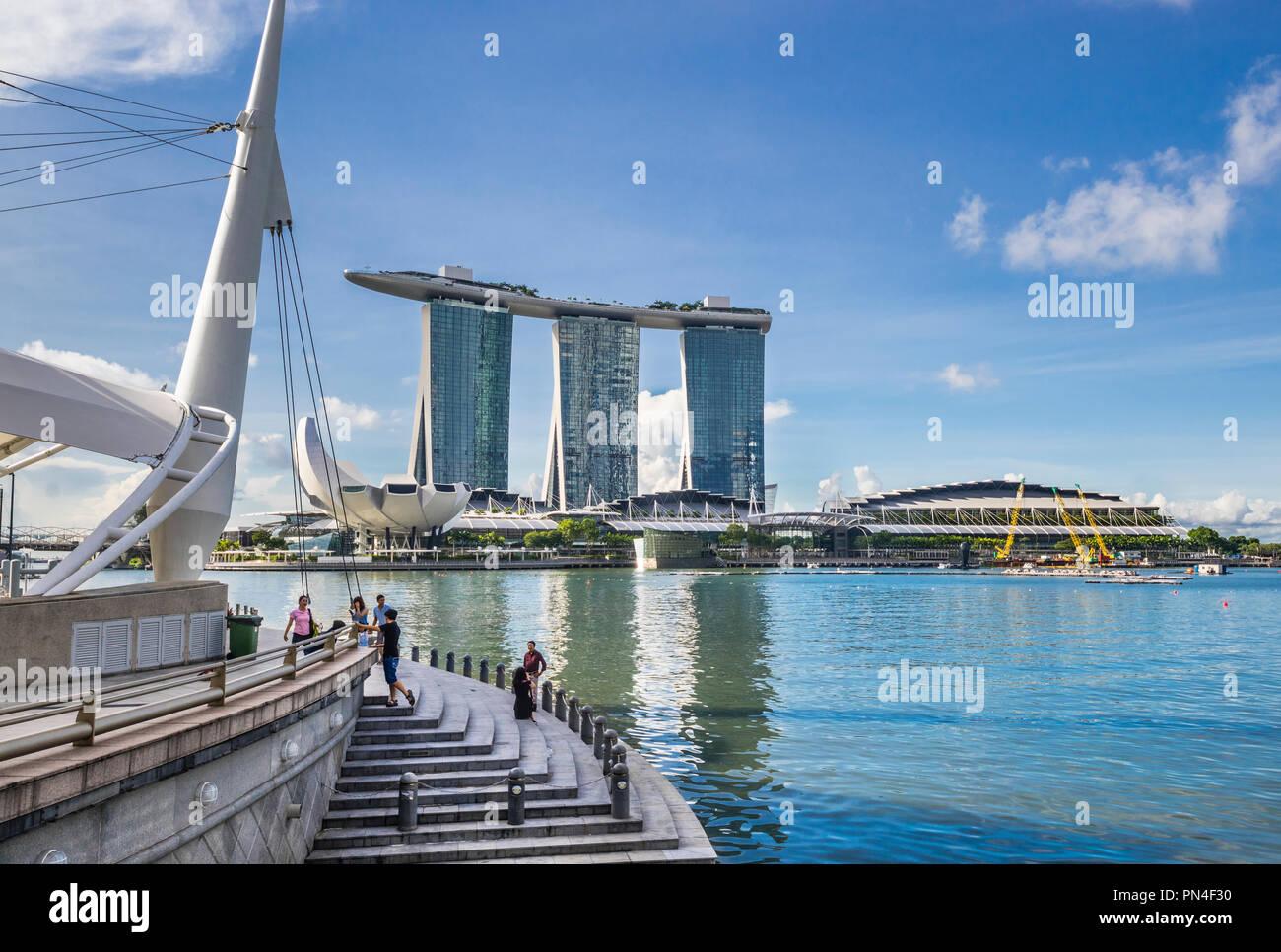 view of Marina Bay Sands Resort Singapore across Marina Bay - Stock Image