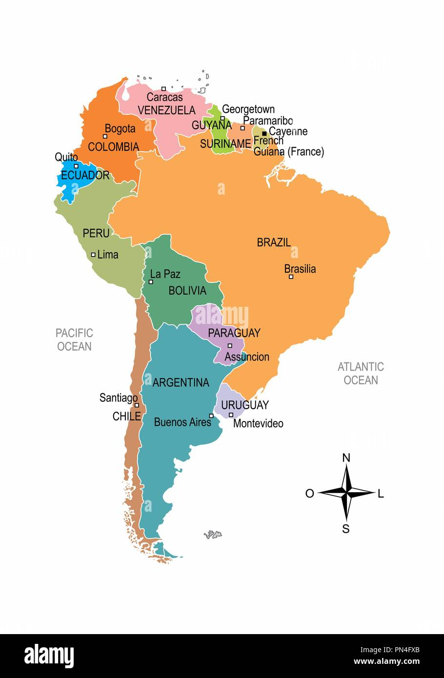 Colorful map of South America with division of countries and ...
