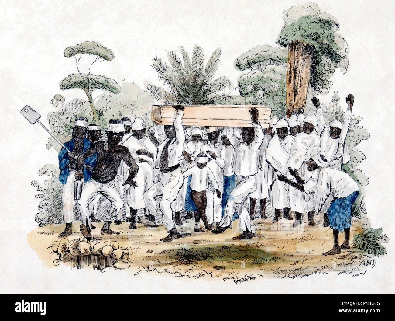 Slave funeral at plantation, Suriname. Colored litho Th. Bray. Apparently the artist witnessed a burial among slaves. Slaves could arrange their own burials and perform the rituals that are part of it. From the posture of some of the persons one can see the dynamics that are part of it: people clap, move their arms, and dance. All people are dressed in white. The dead person lies in a wooden coffin, carried to the burial by two men. A little boy is blindfolded, a practice that occurred frequently. Suriname slave-origins are from Africa. Circa 1850 Stock Photo