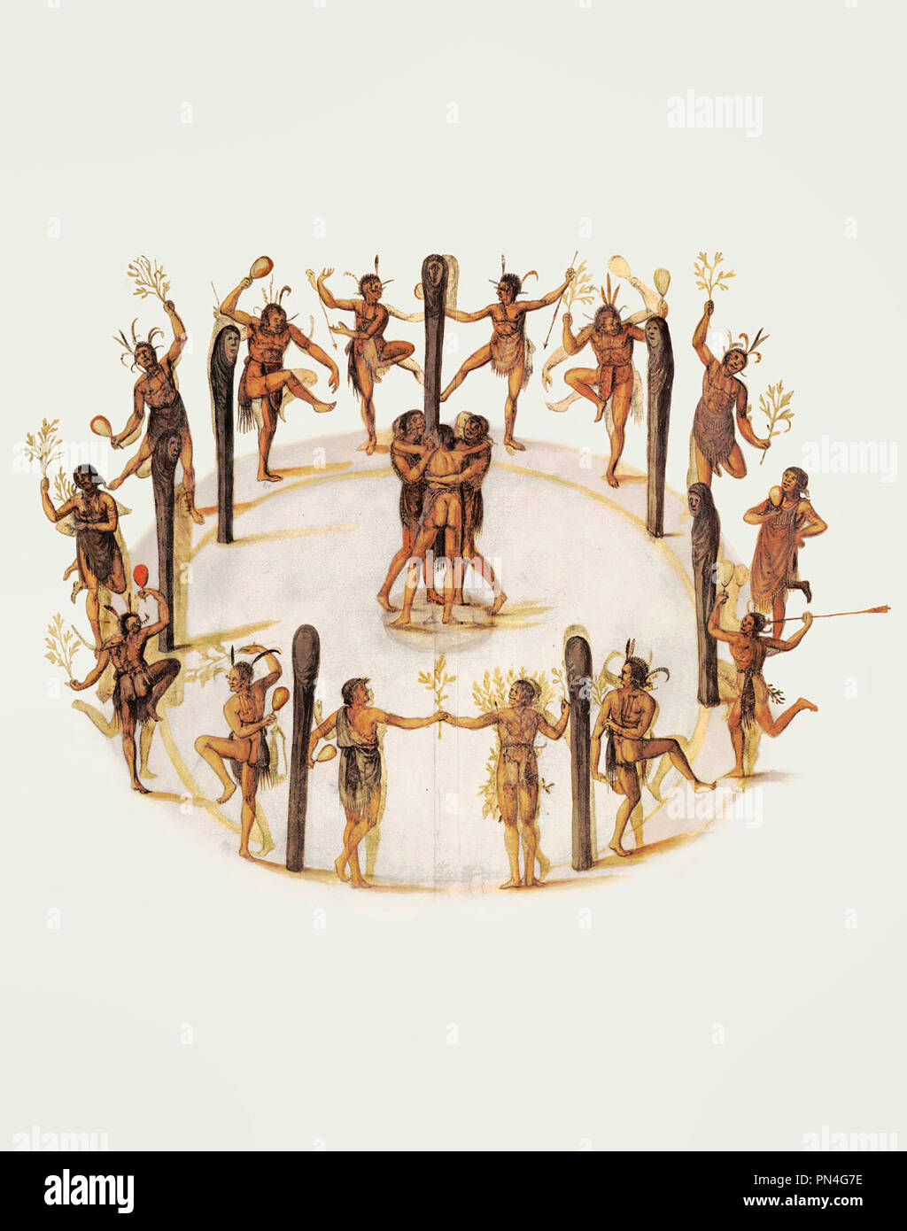Dancing Secotan Indians in North Carolina. Watercolour painted by John White in 1585. - Stock Image