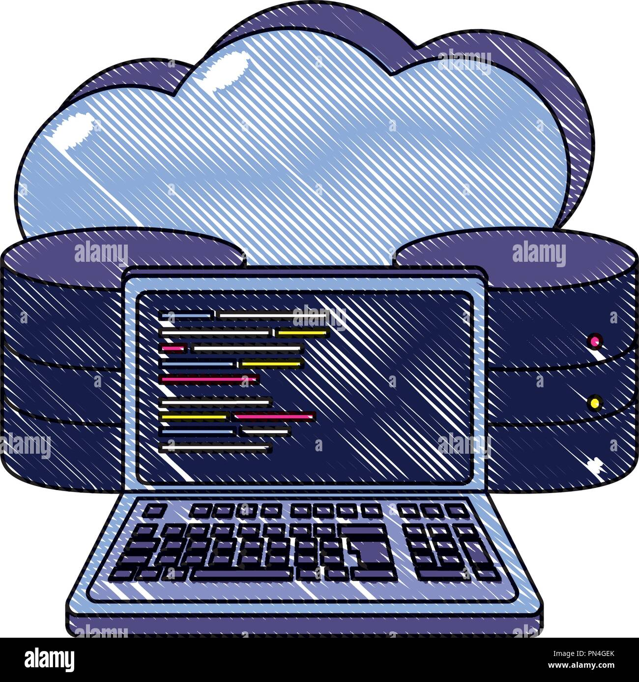 grated cloud data and computer system code - Stock Image