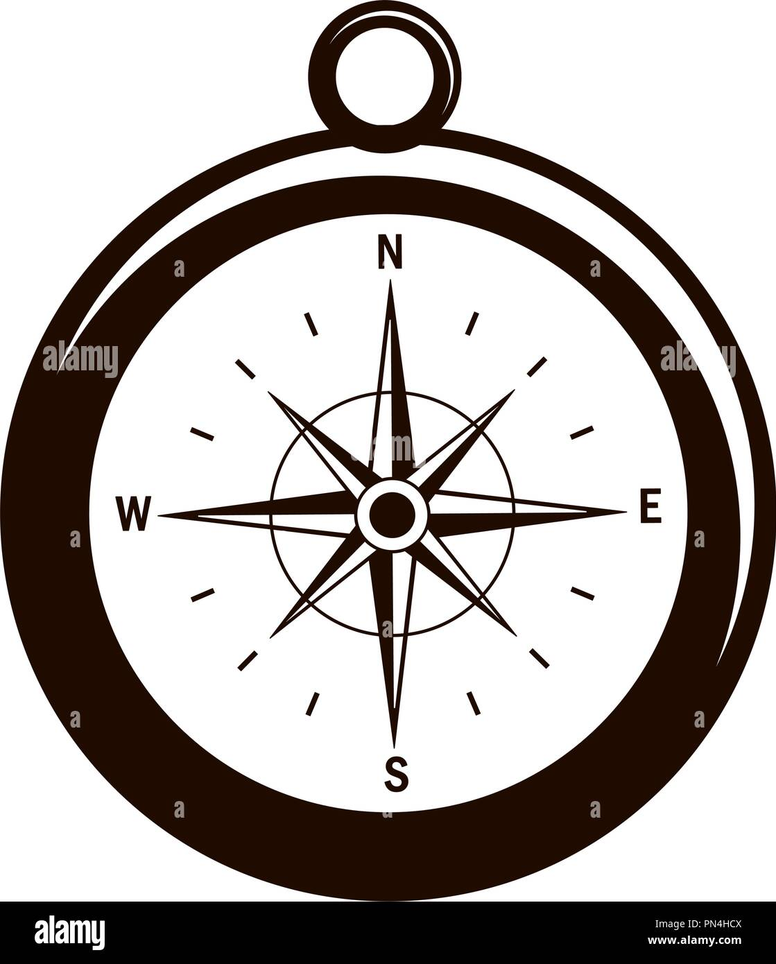 compass with north star to navigate direction - Stock Image