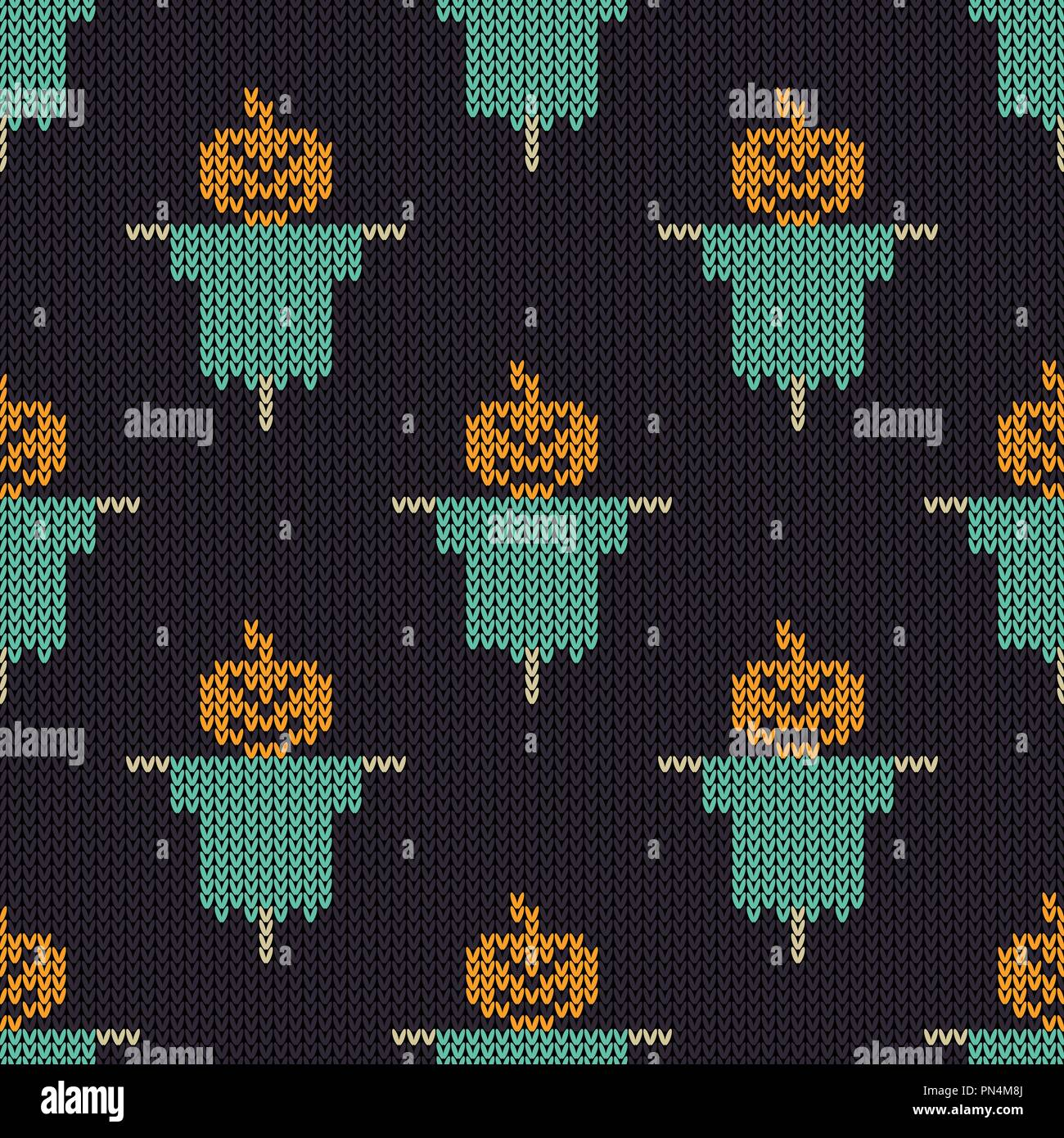 Halloween knitted pattern. Seamless Knitting Texture with pumpkin scarecrow. Design for sweater, scarf, comforter or clothes texture. Vector illustrat - Stock Vector