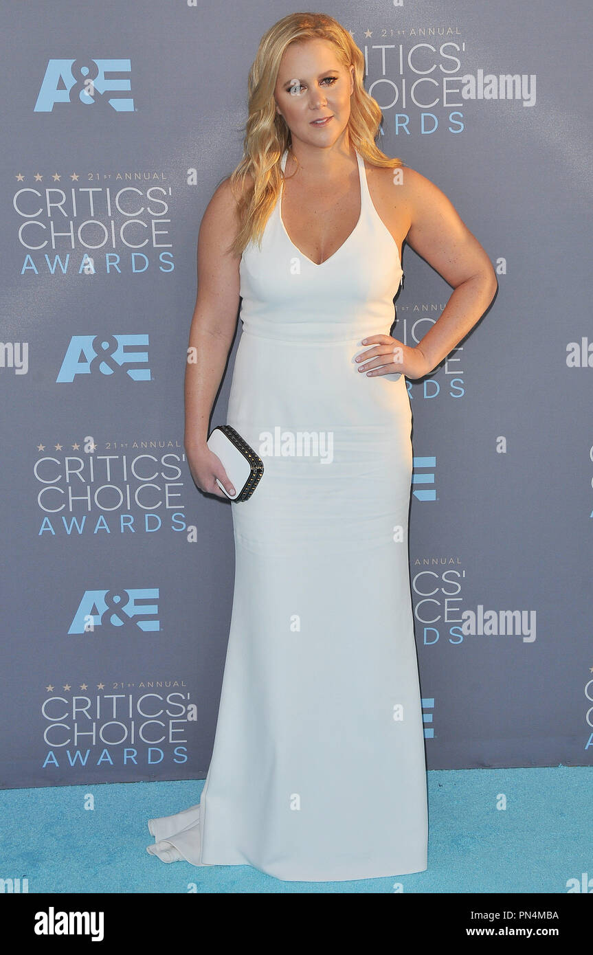 Amy Schumer at the 21st Annual Critics' Choice Awards held at the Barker Hangar in Santa Monica, CA on Sunday, January 17, 2016. Photo by PRPP_PRPP / PictureLux   File Reference # 32803_079PRPP01  For Editorial Use Only -  All Rights Reserved - Stock Image