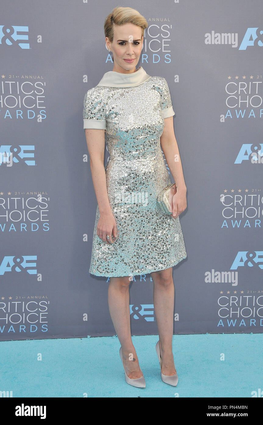 Sarah Paulson at the 21st Annual Critics' Choice Awards held at the Barker Hangar in Santa Monica, CA on Sunday, January 17, 2016. Photo by PRPP_PRPP / PictureLux   File Reference # 32803_090PRPP01  For Editorial Use Only -  All Rights Reserved - Stock Image