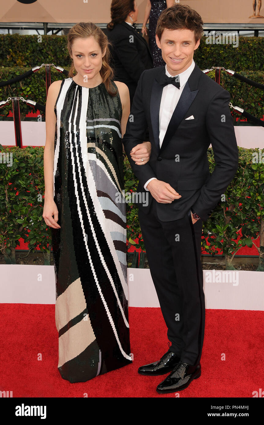 Eddie Redmayne and publicist Hannah Bagshawe at the 22nd Annual Screen Actors Guild Awards held at the Shrine Auditorium in Los Angeles, CA on Saturday, January 30, 2016. Photo by PRPP_PRPP / PictureLux  File Reference # 32824_005PRPP01  For Editorial Use Only -  All Rights Reserved - Stock Image