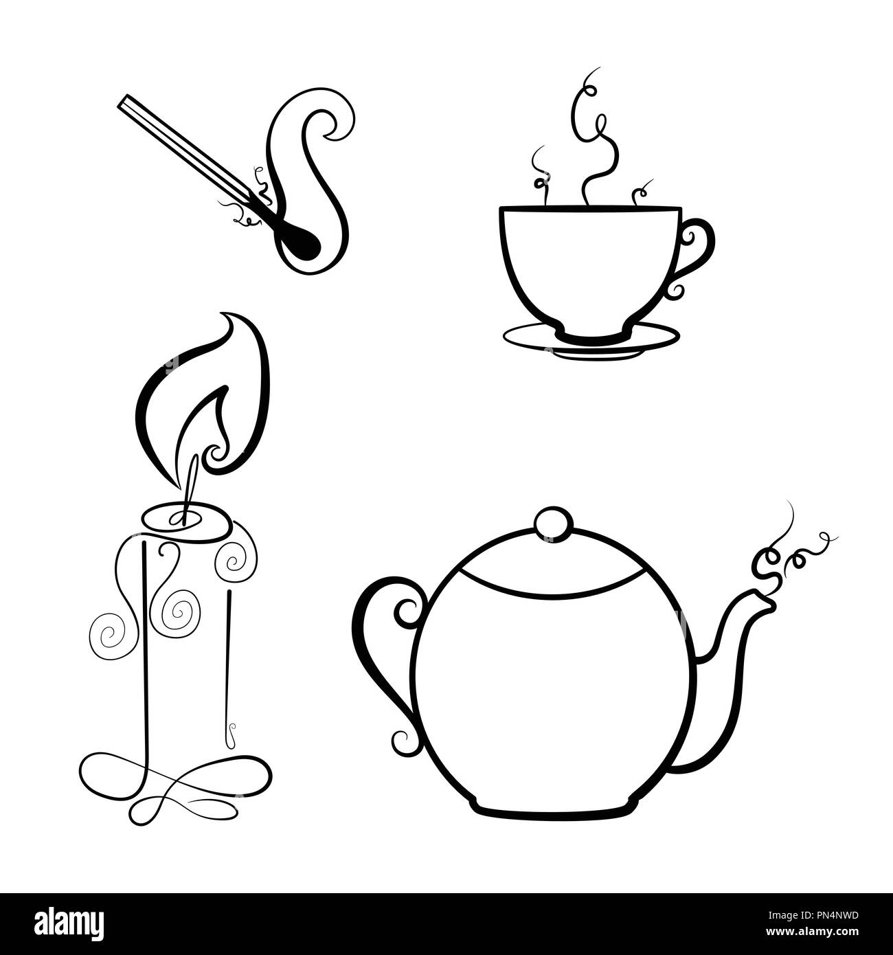 Candle, match, teapot and a Cup of tea. Coloring book. Vector illustration. Home comfort - Stock Image