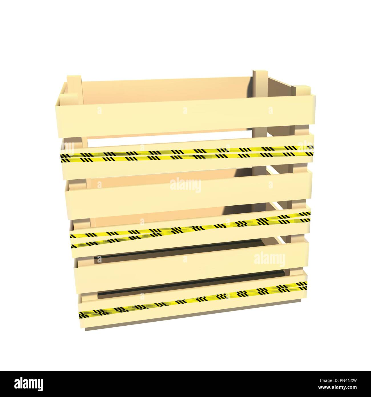 Physical hazards. Caution tape. Wooden container. Box for storage and transportation. Vector illustration. - Stock Image