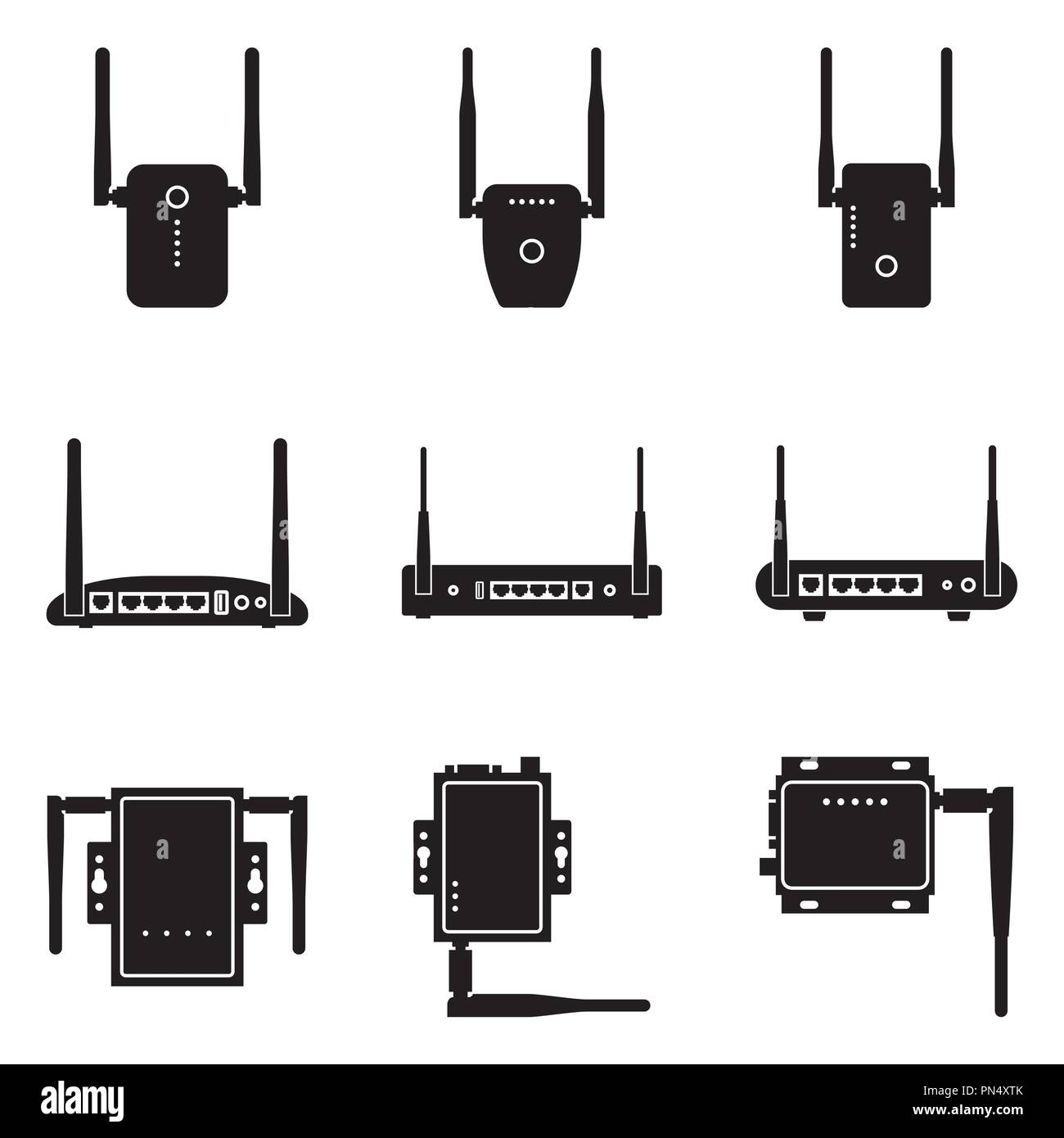 Wireless deviceicon. Modem, router and repeater. Silhouette vector - Stock Image
