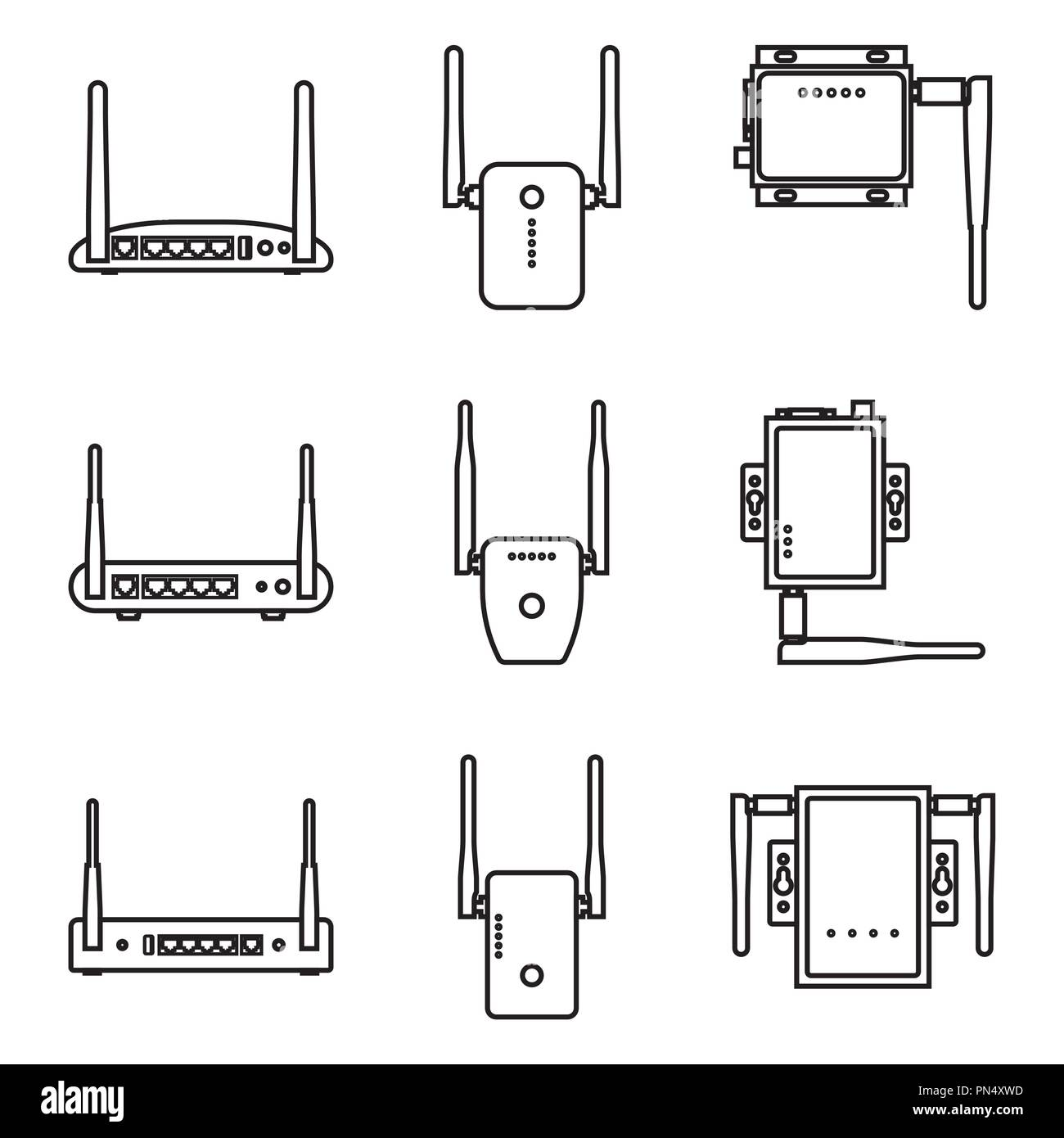 Set of wireless deviceicon. Modem, router and repeater. Vector thin line - Stock Image