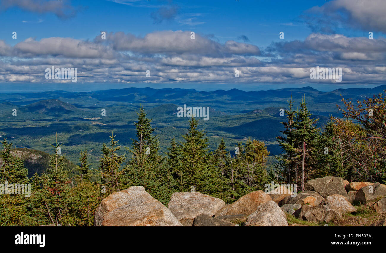 USA, mountains, New York State, forest, Adirondacks, cottage, climbing, hiking, valley, vista, landscape - Stock Image