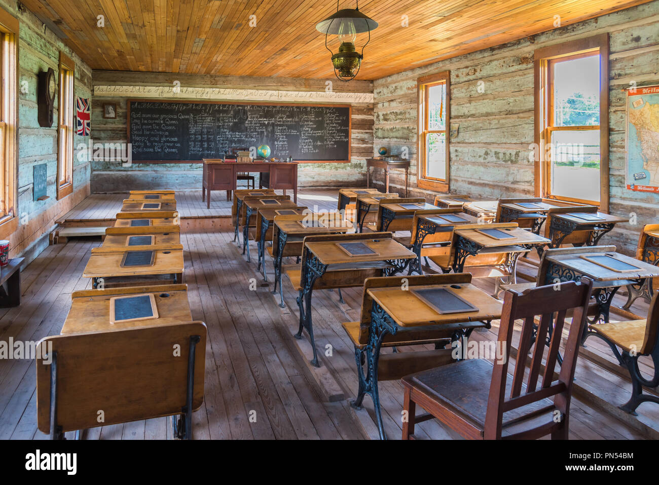Historic one room schoolhouse at O'Keefe Ranch near Vernon, BC, Canada Stock Photo